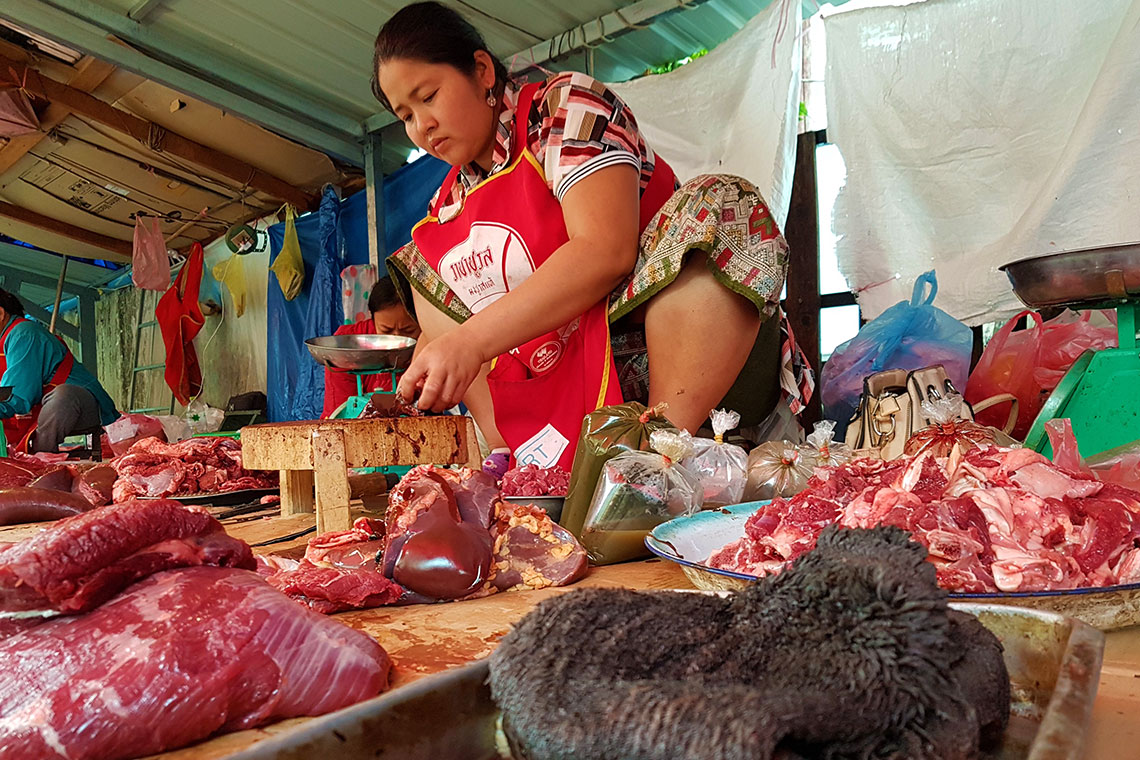 Meat stall at morning market